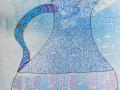 BLUE TEAPOT   Dessin au feutre sur fond estampé à l encre d imprimerie