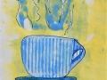 CAFÉ CHAUD Dessin pastel à l huile sur estampe.