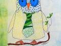 HIBOU  # 7   Dessin au feutre sur fond estampé à l encre d imprimerie