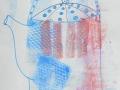 HOT TEA  POT  - Dessin au feutre sur fond estampé à l encre d imprimerie