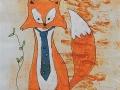 ONE LITTLE FOX  - Dessin au feutre  - cadre inclus 60.00$