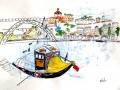 PORTO, PORTUGAL  - Dessin au feutre sur fond estampé à l encre d imprimerie