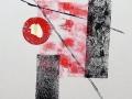 ABSTRAIT  - Estampe 9 x 12 avec collage