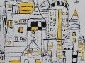 MILIEU URBAIN - Monotype  9 x 12  encre  sur papier