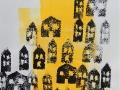 VILLAGE- Monotype  9 x 12  encre  sur papier