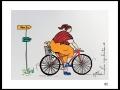 CYCLISTE # 2 - DESSIN À L ACRYLIQUE SUR  CARTON 6 X 8   - 40.00$
