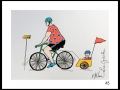 CYCLISTE # 3 - DESSIN À L ACRYLIQUE SUR  CARTON 6 X 8   - 40.00$