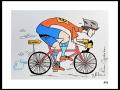 CYCLISTE # 4 - DESSIN À L ACRYLIQUE SUR  CARTON 6 X 8   - 40.00$