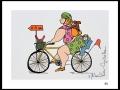 CYCLISTE # 5b - DESSIN À L ACRYLIQUE SUR  CARTON 6 X 8   - 40.00$
