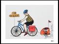 CYCLISTE # 9 - DESSIN À L ACRYLIQUE SUR  CARTON 6 X 8   - 40.00$