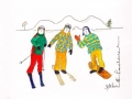 Skieurs # 1 -Dessin acrylique et feutre sur papier cartonné