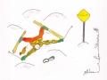 Skieurs # 13 -Dessin acrylique et feutre sur papier cartonné