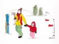 Skieurs # 3 -Dessin acrylique et feutre sur papier cartonné