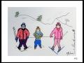 SKIEURS # 12  - DESSIN À L ACRYLIQUE SUR CARTON 6 X 8 - 40.00$