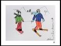 SKIEURS # 6  - DESSIN À L ACRYLIQUE SUR CARTON 6 X 8 - 40.00$