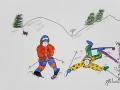 Skieurs # 2 -Dessin acrylique et feutre sur papier cartonné