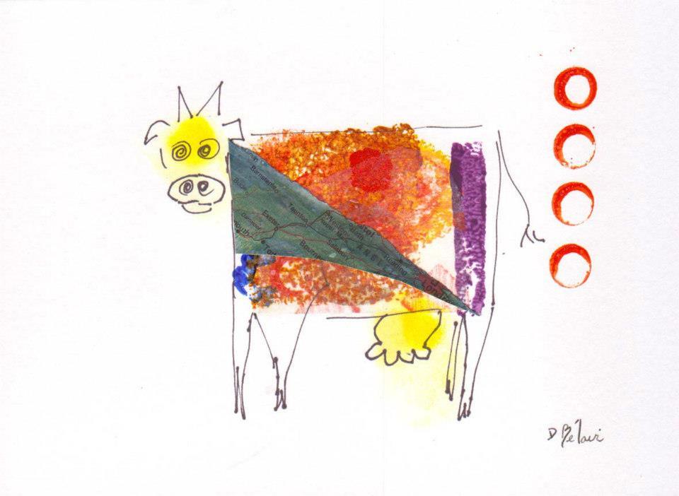 Bête # 10 - Dessin,  collage et estampe à l acryliquesur carton