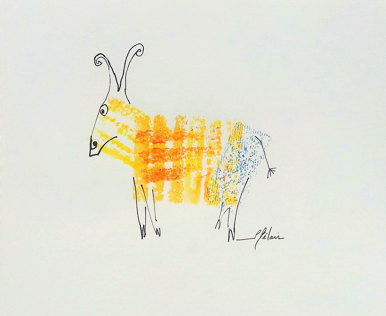 Bête # 17  -  Dessin et estampe à l acrylique sur papier Strathmore