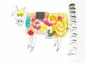 Bête # 1 -  Dessin,  collage et estampe à l acrylique sur carton