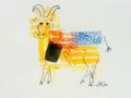Bête # 15 - -  Dessin et estampe à l acrylique sur papier Strathmore