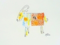 Bête # 20  -  Dessin et estampe à l acrylique sur papier Strathmore