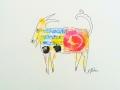 Bête # 21 -  Dessin et estampe à l acrylique sur papier Strathmore