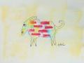 Bête # 24  -  Dessin et estampe à l acrylique sur papier Strathmore