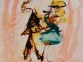 LES DANSEURS  -  Acrylique sur papier  Yupo  5 x 5 - 30.00$