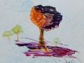 SOLITAIRE   -  Acrylique sur papier  Yupo  5 x 5 - 30.00$