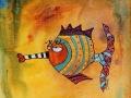 JE M EN FISH!   - Acrylique sur papier toilé 6 x 6 30.00$
