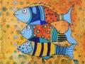 JAMAIS DEUX SANS TROIS   - Acrylique sur papier toilé 6 x 6 30.00$