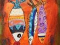 TRIP A TROIS NOWHERE   - Acrylique sur papier toilé 6 x 6 30.00$