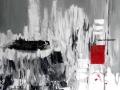 CARRÉ ROUGE  - Techniques mixtes sur toile